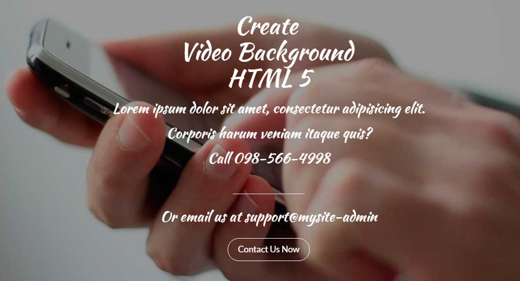 Создание Video Background HTML 5